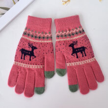 Glove Mitten Women Full Finger Gloves Autumn Winter Knitting Wool Gloves