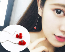 BENA Red Cherry Earring line female long section eardrop contracted flow vogue temperament su cherry pearl earring
