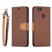 DELIVE Xiaomi mi A1/5X Luxury Leather Phone Cover  Fashion Patchwork Cover Strap Soft Flip Wallet Case