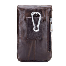 [LESHP]Small Soft Cow Leather Men Waist Bag Vintage Credit Cards Money Holder Coffee