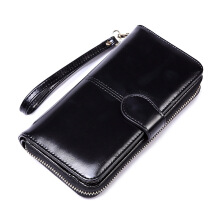 SiYing Retro Long Wallet Women's Oil Wax Large Capacity Multi-Function Clutch