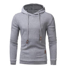 Farfi Winter Grid Embossed Men Hooded Sweatershirt Solid Color Hoodie