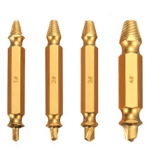 Drillpro 4Pcs Double Side Damaged Screw Bolt Extractor Drill Bits Gold Oxide Edition Stripped Screw Removers