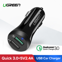 UGREEN Quick Charge 3.0 Car Charger Dual USB Ports 30W Fast Car Adapter