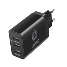 UNEED QuickPlug Smart Charger 3Port Qualcomm Quick Charge 3.0 - UCH401 Black