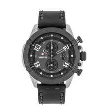 Expedition E 6763 MC LTBBA Chronograph Men Black Dial Black Leather Strap [EXF-6763-MCLTBBA]