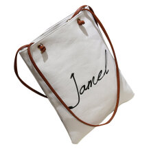 [LESHP]Canvas Women Shoulder Bag Dual Straps Lady Handbag Printing Students White