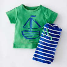 Boy's cartoon suit stripe T-shirt shorts two-piece children sport suit