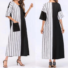 Women's Fashion Striped Crew Neck Casual Loose Kaftan Long Dress_Black_L