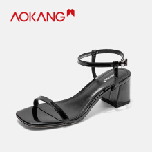 AOKANG Sandals Shoes Woman Buckle Rianbow Summer  Ladies Beach Colors Women Shoes