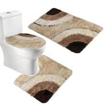 Farfi Microfiber Rug 3 Piece Bath Mat Set Pedestal Lid Toilet Cover Rug Bath Carpet Brown