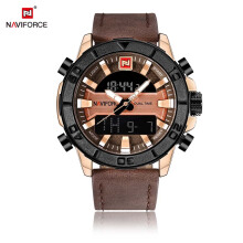 NAVIFORCE Fashion Casual Leather Men'S Quartz Analog Wristwatch LED Outdoor Sport Watches