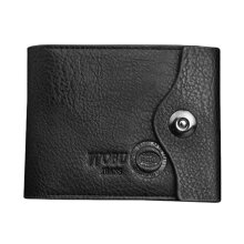 COZIME Luxury Man Magnetic Buckle PU Leather Wallet Purse Clutch Short Card Holder Black