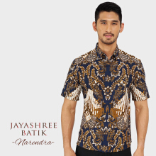 JAYASHREE BATIK Slim Fit Short Sleeve Narendra - Navy