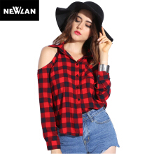 Newlan Sexy Plaid Off Shoulder Ladies Tops Off Shoulder V-neck Summer Womens Tops Casual Red Plaid