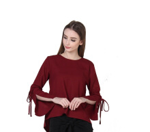 Rianty Basic atasan wanita blouse ariana - red Maroon All Size