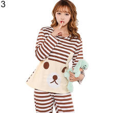 Farfi Cute Women Cartoon Animal Print Pajama Set Long Sleeve Two-pieces Sleepwear