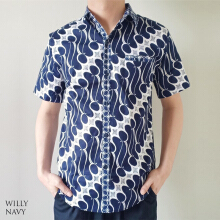 Evercloth - Willy Man Jumbo - Kemeja Batik Jumbo Pria Navy Blue All Size