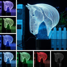Farfi 3D 7 Color Change Acrylic Horse Head LED Night Light USB Lamp Home Decor as the pictures