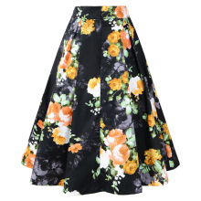 Newlan BSQ02 Women cotton print retro large swing ladies high waist skirt