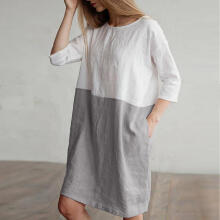 Women Casual Patchwork 1/2 Sleeved Cotton Linen Loose Pockets Tunic Dress_Grey_M