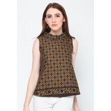 FBW Ballina Sleeveless High Neck Batik Kawung Top - Cokelat