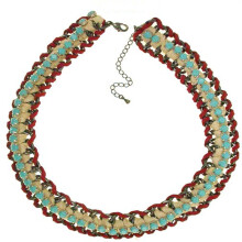 ETONG Fashion necklace with turquoise acrylic stone with red lether and white cotton