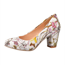 Zanzea Extra Size Floral Chunky Heel Pumps Yellow 42