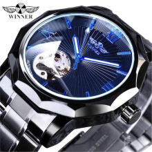 Famous Brand Winner Luxury Top Brand Watches Men's Automatic Mechanical Watch Male Hollow Roman Scale Luminous Wristwatch Fashion Business Clock for Men