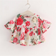 Lovely Round-neck Floral Printed Dress with Middle Lantern Sleeves for Girls 140cm
