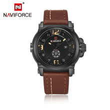 NAVIFORCE Mens Watches Top Brand Luxury Quartz-Watch Leather Strap Clock Men Waterproof WristwatchMasculino