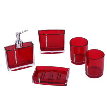 [OUTAD] 5pcs/set Home Bathroom Set Hand Soap Dish Toothbrush Holder Red