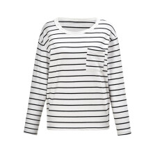 BESSKY Women Striped Pocket Stitching Tshirt Long Sleeve Blouse Top Shirt Pullover Tops_