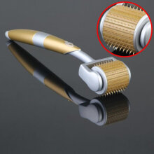 TOWER PRO Ergonomic Titanium Alloy Needle Derma Roller Anti-Aging Scar Remove Silver & Gold 0.3mm