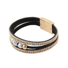 Multiple Layers Leather Bracelet For Women Simulated Pearl Rhinestone Bracelet black