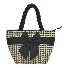 Naraya Houndstooth Printed Quilted with Ribbon NB-42/SS CP105 White Black