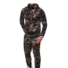Fashion Men Suits Camouflage Clothing Jacket Tops Long Pants Outdoor Tracksuit camouflage green Jacket XL