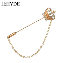 Jantens Women Men Brooches Crystal Crown Queen Corsages Pin Women Hats Scarf Suit Brooch Gold