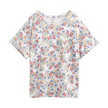 INMAN 1882022145 T Shirt 2018 Floral Style Women T Shirt Round Collar Cotton Printing Short Sleeve Shirt