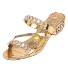 Jantens New Sandals Women Slippers Shoes 2017 Fashion Women Shoes Gold Silver Rhinestones Sandals tenis feminino high heels