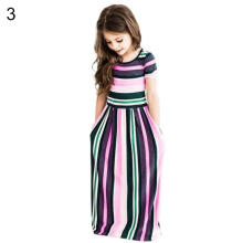 Farfi Kids Girls Striped Short Sleeve Holiday Party Maxi Long Dress