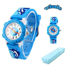 Keymao Dolphin Waterproof 3D Cute Cartoon Silicone Wristwatches Gift for Little Girls Boy Kids Children Blue