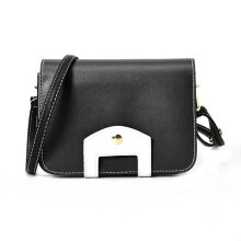 [LESHP]Women Hit Color Design Single Shoulder Bag Soft PU Leather Crossbody Black