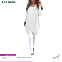 Anamode Women V Neck Sweater Long Sleeves Knitted Pullover Fashion Basic Knitwear -White -