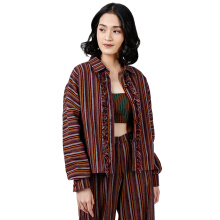 IKAT Indonesia Dama Cropped Jacket - Maroon