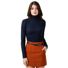 FACTORY OUTLET LO1709-0007 Women Sweatshirt Ls Turtle Neck - Navy