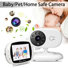Wireless Digital 3.5'' LCD Baby Monitor Camera Audio Talk Video Home White Pet