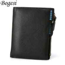 [LESHP]836 Baborry PU Leather Men Zipper Wallets Card Cash Holder Coin Purse Black