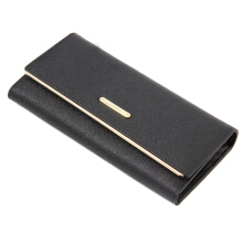 [LESHP]Three Fold Leather Handbag Vintage Money Card Wallets Women Long Purse Black