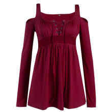 Anamode Women Autumn Blouses Solid T Shirts V-Neck Tops Long Sleeved Clothing -Wine Red